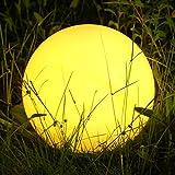 Albrillo RGB Solarleuchte Garten Kugel, USB Wiederaufladbar Kugellampe mit Fernbedienung, IP68 für Schwimmbad mit Fernbedienung, Ø 30cm
