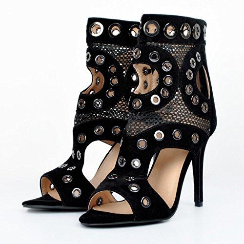 Kolnoo Femmes Handmade 10cm Cut-out métal Oeillets Sexy Party Prom sandales à talons hauts Chaussures Black Black