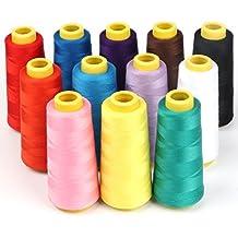 ilauke 12 X 1500m Hilos de Coser, Hilos de Bordar de Poliéster para Costura, 12 Varios Colores