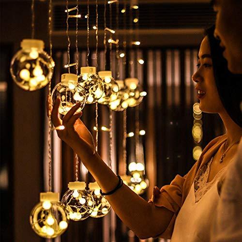 Led Lichterketten Vorhang Fenster Batterie Betrieben Outdoor Fairy Weihnachtstagesdekorationslicht Führte Transparente Wunschballlicht-Innenschlafzimmerraum-Hängelampe@Vier Farben_3 Meter Und 12 Bälle (Hängelampen Betrieben Batterie)