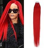 Romantic Angels Tape In Extensions Echthaar 45cm Haarverlaengerung 20 Tressen x 4 cm Farbe Rot