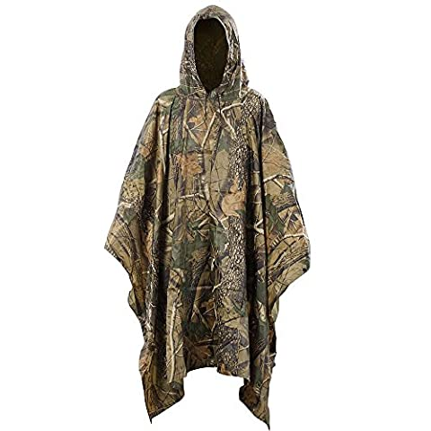 Aodoor Multifonction Camouflage militaire pluie Portable Emergency Poncho, étanche Poncho