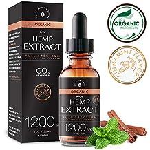 Estratto biologico di canapa per sollievo da dolore e stress (1200MG), Aroma Cinnamint, unito a olio di semi di canapa biologico per un'assimilazione ottimale, CO2 Estratto a freddo, 1oz
