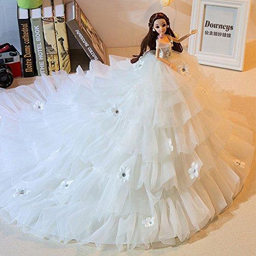 Preisvergleich Produktbild zantec mit eleganten Trägerlos Prinzessin Kleid Hochzeit Puppe Spielzeug Puppe Innendekoration Artikel Barbie Puppe weiß
