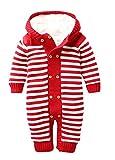 Keral Natale Salopette Maglieria Velluto Bambino Bodysuit Stripe Cappuccio Pigiama 18M Red