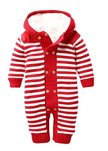 Keral Baby Jungen Mädchen Overall Strick Getreift Mit Kapuze 18M Rote