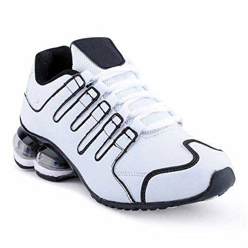 Fusskleidung Herren Damen Sneaker Sportschuhe Lauf Freizeit Neon Runners Fitness Low Unisex Schuhe Weiss/Schwarz-W EU 40 (Nike Adidas Reebok)