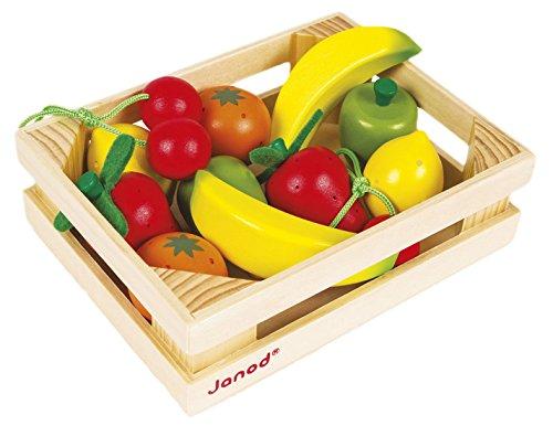 Janod Holzspielzeug - Früchtesortiment in Kiste Obst Kaufladen Markt 12 Teile - 16 x 4,7 x 12 cm, Mehrfarbig
