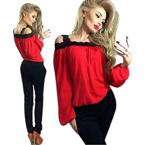 Tongshi Mujeres Hombro camiseta de manga larga blusa de gasa suelta la tapa T del cordón de la camisa