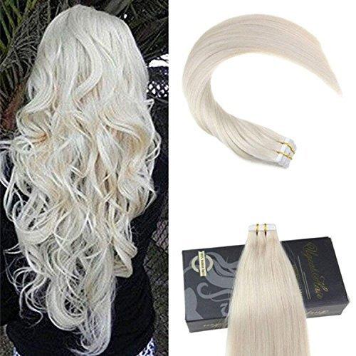 Ugeat Tape on Tressen Echthaar Extensions 2.5g/pcs 100g/Pack Glatt Extensions Echthaar Haarverlangerung 28 Zoll #60 Light Blonde