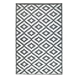Green Decore Wendbarer Öko-Teppich aus recyceltem Kunststoff (Plastik) für Innen und Außen / Federleicht - 180 x 270 cm Grau / weiß