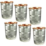 "Taluka ( 2.14"" X 3.12"" Inches ) Water Drinking Glasses Set Of 6 Copper And Stainless Steel Indian Drinkware, Capacity 350 ML"