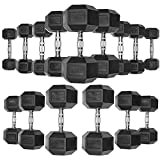 JLL® Hex Dumbbells Rubber Encased Ergo Weights Sets Hexagonal Dumbbell Gym Fitness, 4 - 32 KG, Black Colour