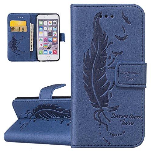 Custodia iPhone 6, ISAKEN Custodia iPhone 6S, iPhone 6 Flip Cover, Elegante borsa Dente di leone Design Custodia in Pelle Protettiva Portafoglio Case Cover per Apple iPhone 6 4.7/ con Strap / Support Piuma dream: blu