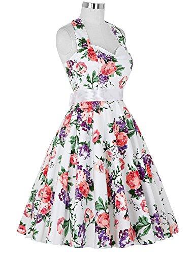 Damen 50s Vintage Rockabilly Kleid Neckholder Kleid Sommerkleid ...