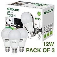 AUROLITE A60 12W Warm White, Pack of 3, LED Bayonet, Ultra Bright 960LM, 75Watt Incandescent Bulbs Equivalent, 2 Years UK Warranty (B22 3000K)