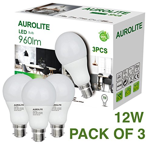 PACK OF 3 12W AUROLITE LED Bulbs, A60 12W B22, Pack of 3, LED Bayonet Bulb, Ultra Bright, Warm White 960LM, 75Watt Incandescent Bulbs Equivalent, 2 Years UK Warranty (3000K)
