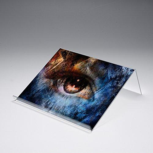 Buchstütze mit Motivdruck 'Bunter Look' | Buchständer | iPad-Stütze | Warenstütze | Acrylhalter | Warenträger aus Acrylglas | Werbeaufsteller, Größe:40x25x12 cm