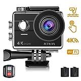 ACTMAN Caméra Sport 4K/1080P WiFi 16MP V3 Ultra HD Caméra d'action Etanche 30M, 170 °Grand-Angle, 2 Pouces LCD, avec 2 Batterie et inclut des Kits Complets d'Accessoires
