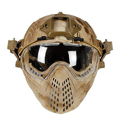 LEJUNJIE Taktische Fast Baotou Helm Outdoor Reiten Maske One Full Face Airsoft Maske Camouflage Edition Ohrschutz Brille für Airsoft Paintball CS Andere Outdoor-Aktivitäten, Khaki