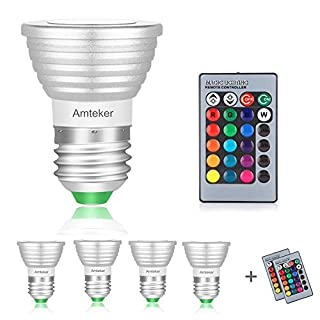 Amteker 4 Pack RGBW Multi-Color LED Bulb, 3W E26/E27 - Includes Remote with 16 Color Changing - Great for Stage, Party, Production and Anywhere in The Home (Pack of 4)