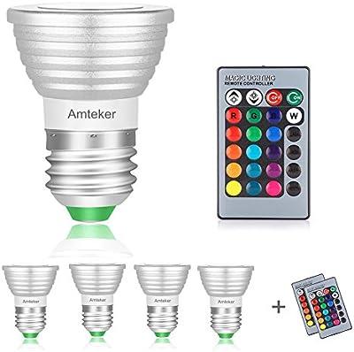 Amteker 4 Pack RGBW Multicolor LED Bombilla, 3W E26 / E27 - Incluye Control Remoto con Cambio de 16 Colores - Ideal para Escenario, Fiesta, Producción y en Cualquier Lugar del Hogar (Pack de 4)