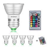 Amteker 4 Pack RGBW Ampoule Multicolore LED, 3W E26 / E27 - Inclut la Télécommande avec 16 Changements de Couleur - Idéal pour la Scène, Fête, Production et n'importe où dans la Maison (Pack de 4)