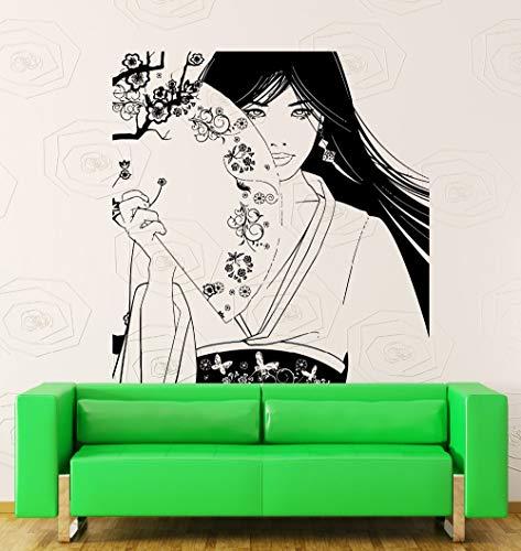 JXAA Abnehmbare Vinyl Wandaufkleber Vinyl Aufkleber Schöne Geisha Mädchen Japan Oriental Tänzer Dekor Umweltfreundliche Kunst Pic 56X60 cm