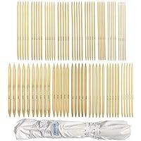Set di ferri da maglia in bambù a doppia estremità, per principianti e professionisti, 80 pezzi (16 dimensioni X 5 unità), 2 mm a 12 mm, 25 cm di lunghezza, con involucro della custodia di tela