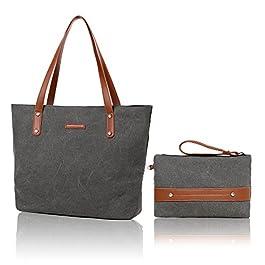 Hovast Tela Borsa a Mano Spalla Tracolla, Canvas handbag Borsa A Tracolla Portatile Di Grande Capacità Tela a da donna Vintage borsetta Borse