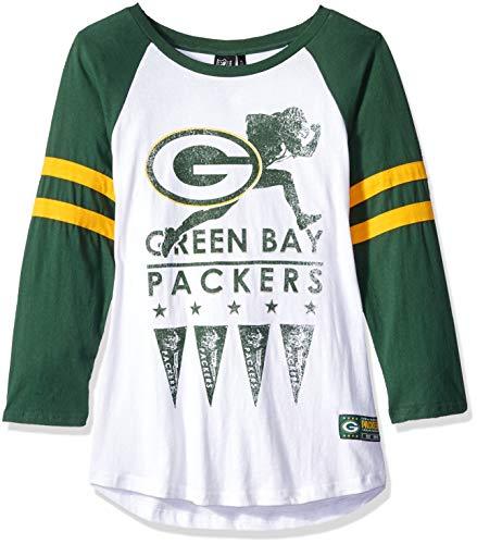 Icer Brands NFL Green Bay Packers Damen T-Shirt Running Game 3/4 Long Sleeve Tee Shirt, X-Large, Weiß
