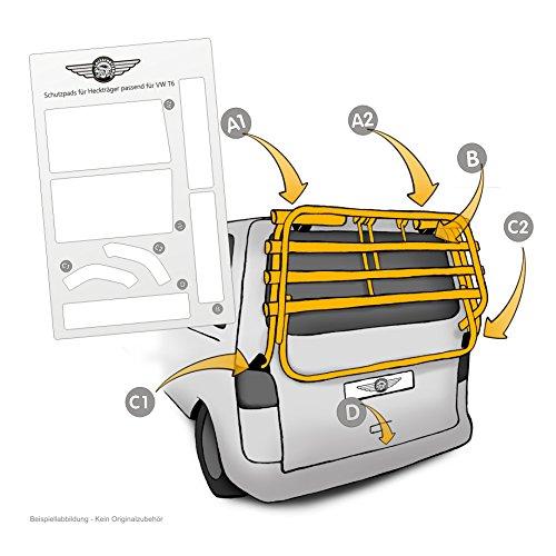 Lackschutzfolie passend für Heckträger VW T6 Multivan, Caravelle ab Bj 2015 - selbstklebende, transparente Schutzpads (7teilig) für Fahrradheckträger und Fahrradträger