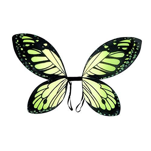 Amakando Elfenflügel Kinder Schmetterlingsflügel grün-schwarz Tinkerbell Flügel Fee Feenflügel Kind Märchen Kostüm Accessoire Schmetterling Elfe ()