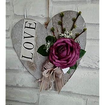 Großes Holzherz mit Rosendeko Valentinsgeschenk zum hängen Landhaus chic