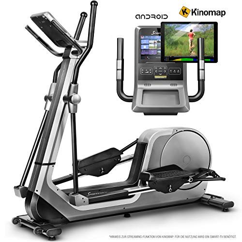 Sportstech LCX800 Crosstrainer - Deutsche Qualitätsmarke - Video Events & Multiplayer APP & Android-Multifunktionskonsole, 24Kg Schwungmasse, Pulsgurt-Kompatibel, 12 Trainingsprogramme + HRC Modus