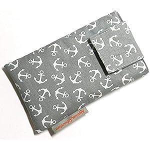 Handytasche Stoff – ANKER AUF GRAU – mit Klett für SAMSUNG® Galaxy® S21 Ultra 5G, S20+, Note20, Note10 Lite, Note10…