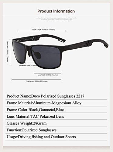 Lunettes de sports polarisées Duco, lunettes style pilote Duccom 2217 Gunmetal Cadre / Revo Bleu Lens