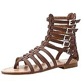 Vogstyle Damen Sandalen Römersandalen Sommer Schuhe Offene T-Spangen Sandals Art 1-Braun EU42/CH43