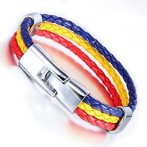 Trendsmax 11mmUomini Donne 3 filo rosso corda intrecciata surfista il braccialetto di cuoio della Romania stile della bandierina del Wristband del