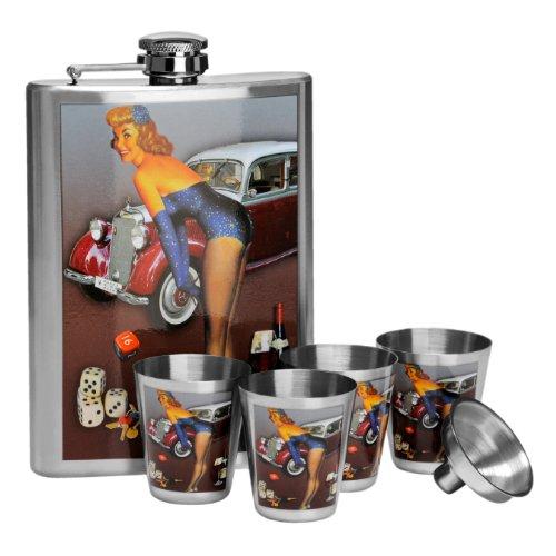 Premier Housewares 0508086 Flachmann Set, Edelstahl-Design-über die Motorhaube, 8 Unzen-Flasche 4 Tassen Funnel (8 Unzen-flasche)