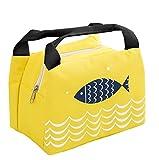 iSuperb Borsa Porta Pranzo Termico Grande Borsa Frigo Piccola Lunch Bag Impermeabile per Scuola e Ufficio 21×17×15 cm (Giallo)