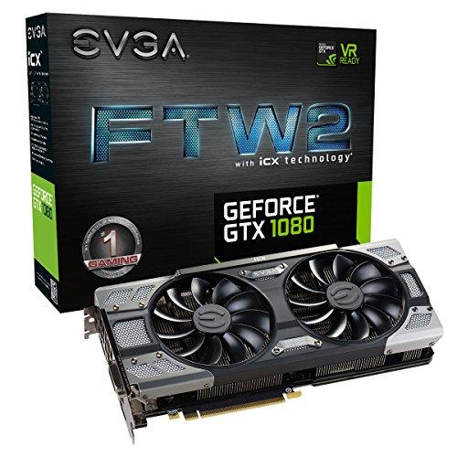 EVGA GeForce GTX 1080 FTW2 GAMING, 8GB GDDR5X, iCX Technology - 9 Temperatur Sensoren & RGB LED G/P/M, Aysnch Fan, Optimized Airflow Design Grafikkarte 08G-P4-6686-KR -