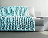 samLIKE Chunky gestrickte Decke dickes Garn Merino Wolle sperrige Stricken werfen 80x100cm (Blau)