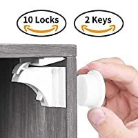 Calish Child & Baby Safety Proof Magnetic Cupboard Locks (10 Locks + 2 Keys), No Screws or Drilling, Latest Design to Protect Your Kids & Toddlers, Bonus Instruction Video