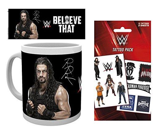 Set: Wrestling, WWE, Roman Reigns Foto-Tasse Kaffeetasse (9x8 cm) Inklusive 1 Wrestling Tattoo Pack...