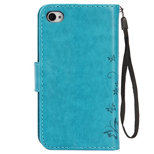 iPhone SE Hülle, iPhone 5S Hülle,SainCat iPhone SE/5S Ledertasche Brieftasche im BookStyle PU Leder Wallet Case Folio Strass Schmetterling Silk Muster Schutzhülle hülle Bumper Handytasche Skin Backcov Schmetterling Blumen-Blau