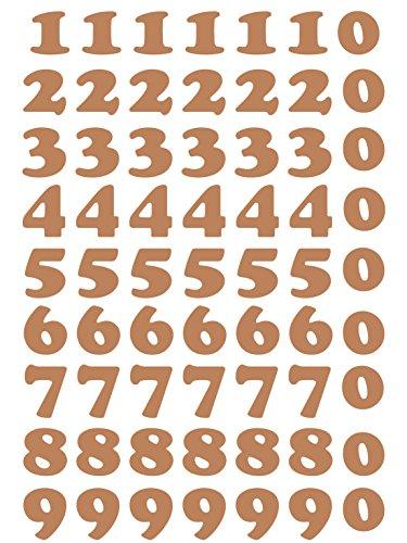 das-label Zahlen Design NO.1 (klein) | kupfer Vinyl matt | selbstklebende gestanzte Zahlen | zum Basteln Scrapbook | Sticker | Aufkleber | zum Beschriften