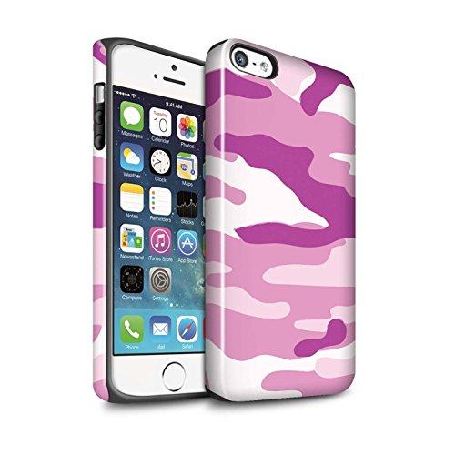 STUFF4 Glanz Harten Stoßfest Hülle / Case für Apple iPhone 5C / Weiß 4 Muster / Armee/Tarnung Kollektion Rosa 2