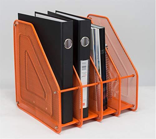 4 Tier-mesh (BIANJESUS Zeitschriftenablage Rack Papier Buch Organizer für Schreibtisch Mesh 4 Tier Metall Storage Stand schwarz Business Office F)