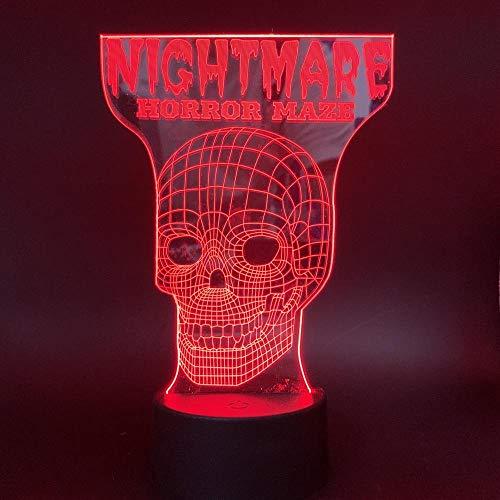 Skelett Schädel Kopf Buchstabe 7 Farbe Illusion Lampe Kinder Usb Berühren Sie 3D Tischlampe Halloween Weihnachten Kinder Geschenk Schlafzimmer Nachttischlampe ()